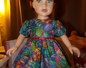 Elegant Easter egg print full dress for 18 inch Dolls - ag225