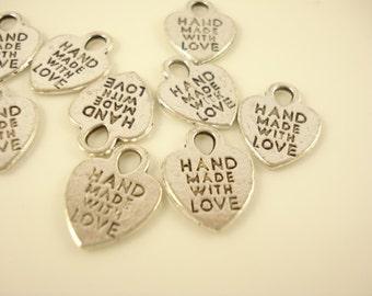 12 Antiqued Silver Tone Heart Charm Pendant w Words 15x12mm SB-443