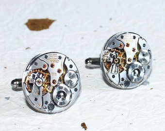 LONGINES Men Steampunk Cufflinks - GENUINE Luxury Swiss Silver High Grade Vintage Watch Movement - Men Steampunk Cufflinks / Cuff Links Gift