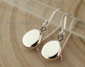 EE925010101) Egg Coin shape, 925 Sterling Silver Earrings
