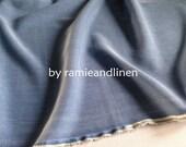 "silk fabric, silk cotton blend jacquard weave fabric, denim blue, one yard by 44"" wide"