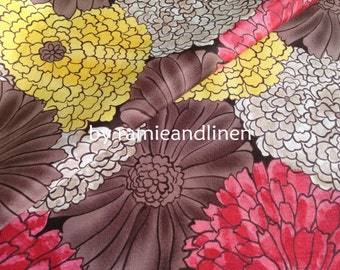 "silk fabric, designer fabric,  floral print silk cotton blend fabric, dress fabric, one yard by 44"" wide"