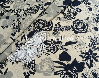 "fine cotton fabric, floral print cotton fabric, one yard by 58"" wide"