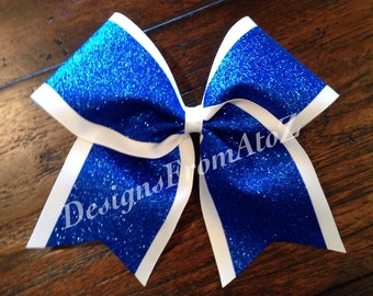 41 2 tone White and Royal Sparkle Cheer Bow