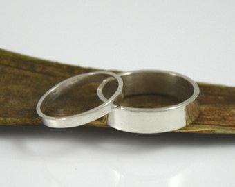 Wedding Bands - His and Hers Sterling Silver Wedding Rings - Made in your size by Gioielli Designs