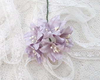Shabby Chic Lily Flowers for Scrapbooking, Card Making, Altered Art, Tags, Mixed Media, Wedding, Lavender