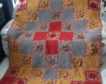 Crochet Afghan Pattern - Vintage Garden Bloom PDF 021