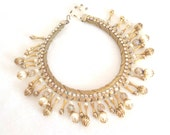 Vintage 1960s Statement Necklace Cleopatra Aurora Borealis Pearls Egyptian Revival