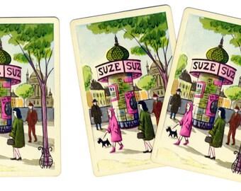 PARIS PEDESTRIANS (3) Vintage Single Swap Playing Cards Paper Ephemera Scrapbook