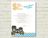 Price is Right Game - matches our Baby Owls Invitation - Baby Shower, Birthday