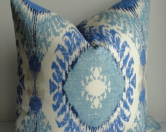 IKAT - BOTH SIDES - Decorative Designer Pillow Cover - indigo-spa blue-ivory-tan-bright blue-square lumbar sizes-linen-throw pillow