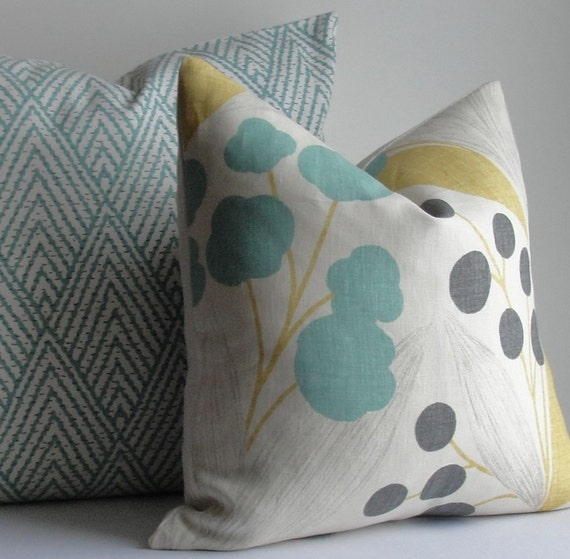 Kravet Floral Turquoise Aqua Teal Charcoal Gray By Wilmalong