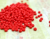 Red Seed Beads, 1oz Red 4mm Czech Glass Sead Beads, Size 6/0 350-400 Beads