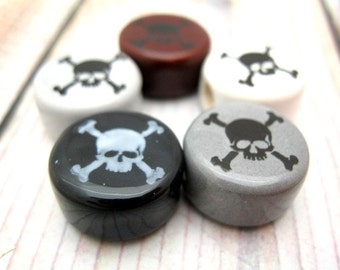 Skull Crossbones Beads, 5pc Ceramic Black Grey Brown Disc Beads, 14mm