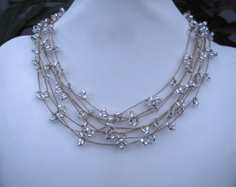 Beaded Multi Layer Crystal Drops Necklace