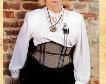 Limited Edition Black and Brown Houndstooth Steampunk Equestrian Cincher