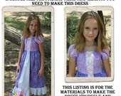 Rapunzel Dress DIY Kit, Includes all the fabric, trims, and pattern you need to make your own dress, Sizes 5-8