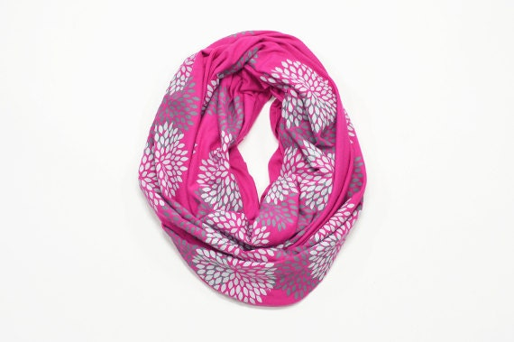 INFINITY SCARF - Screen Printed - Gray Flowers on Bright Pink