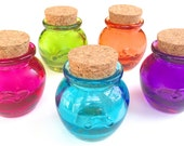 5 Colored Honey Pot Jars- 1.2 Ounce, 36 ML Mini Bottle with Cork for Honey, Sugar, Potions, Spices, DIY Favors, Candy, Jams, Jelly