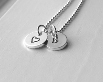Tiny Letter b Necklace, Sterling Silver Initial Necklace, Heart Necklace, Charm Necklace, Initial Jewelry, Personalized Jewelry, b, Heart