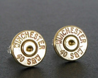 Bullet Stud Earrings, 40 Caliber w Sterling Silver Posts, Bullet Casing Earrings, Gift for Her, 40 Smith and Wesson, Handmade Bullet Earring