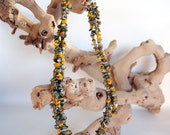Fall Yellow Green Gemstone Chip Necklace, Earthy Fall Bohemian Necklace