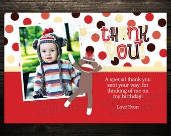 Printable Thank You Cards: Sock Monkey with Photo - Birthday thank you