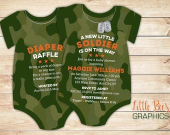 camo baby shower invitations, army soldier invitation, bodysuit Die Cut shaped, Camouflage, Set of 10 printed cards with envelopes