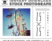 """INSTANT DOWNLOAD - Instagram 25"""" x 25"""" Stock Photo - Vintage Ferris Wheel Photo Unlimited Personal and Commercial Use for Blog or Web use"""