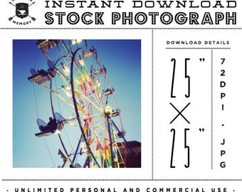 "INSTANT DOWNLOAD - Instagram 25"" x 25"" Stock Photo - Vintage Ferris Wheel Photo Unlimited Personal and Commercial Use for Blog or Web use"