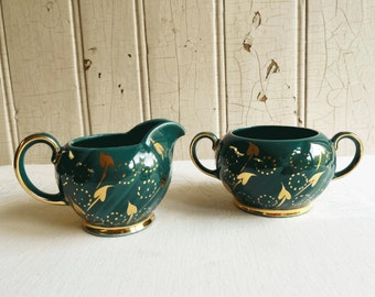 Vintage Dark Green Cream and Sugar Set with Handpainted Gold Leaf and Circle Polka Dot Pattern - Mid-Century 1950s