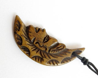 One Bead With Ox Bone Carved Moon Face Tribal Pendant 41mm x 20mm  T0931