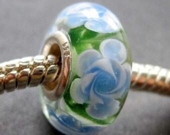1Pc Flower Murano Glass Bead For Charm Fit European Jewelry Bracelet 14mm x 7mm  jaz432