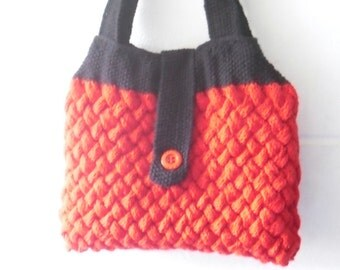 Hand Knitted Bag, Red and Black Cable Knit Handbag, Knitted Purse