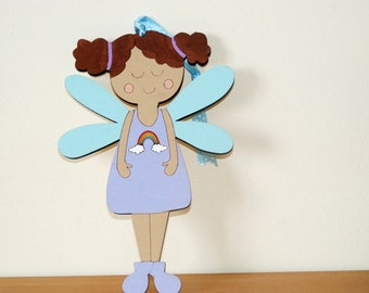 Guardian angel ornament newborn gift for nursery and children room decoration- rainbow dark brown skin angel