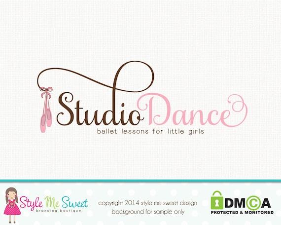 Ballet Slippers Logo Dance Studio Logo By Stylemesweetdesign