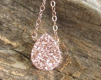 Rose Gold Druzy Necklace Titanium Drusy Quartz