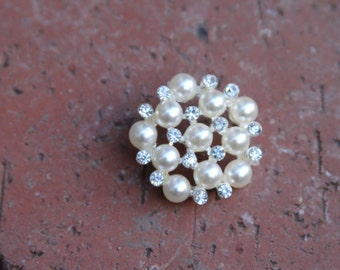 5 Pearl Rhinestone Buttons -494 Button Sewing Button
