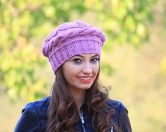 Lilac Women Knit Hat, Womens wool hat, Winter Knit beret, Womens winter beret, Winter beanie hat, bonnet laine femme, beret femme hiver