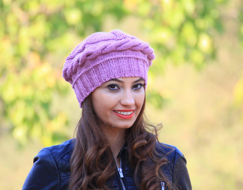 lilac knit hat winter knit beret womens winter beret