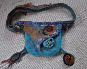 felted hip bag fantasy in blue with many beautiful details -15%off