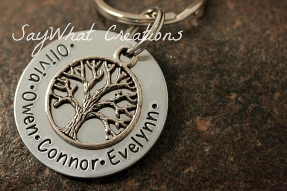 Custom Hand Stamped Family Tree of Life Key Chain great for Grandparents Grandmothers Mothers Fathers