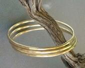 Gold Bangles Brass Bangle Bracelets Three Stack Bracelets Artisan Handmade Jewelry
