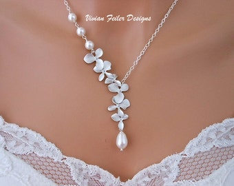 Bridal Necklace Orchid Flower Pearl Wedding Jewelry Bridesmaid Gift Prom Jewellery