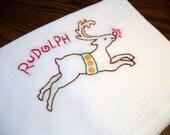 Cotton Dish Towel Reindeer Games Design Flour Sack Tea Towel Christmas Towel with Rudolph
