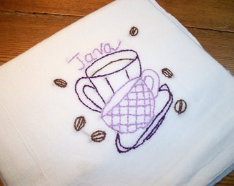 Dish Towel Java Break Design Cotton Flour Sack Tea Towel Java Hand Embroidered Dish Towel