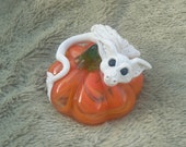 Ghostly Dragon & Pumpkin Oak Sculpture Fantasy Magic Fairy Fae