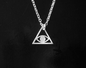 Pyramid Evil Eye Necklace in Sterling Silver