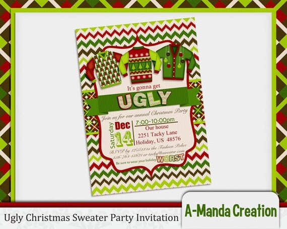 Ugly Christmas Sweater Printables... Find them all HERE