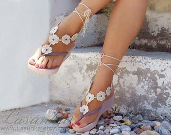 Barefoot Sandles, Crochet  Flower Light Beige Barefoot Sandals, Nude shoes, Foot jewelry, Wedding Beach Party